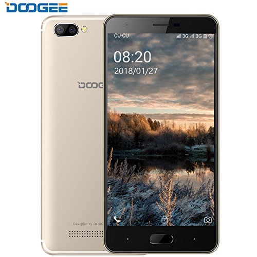 Smartphone ohne Vertrag, DOOGEE X20 Dual Sim Handys Android, 5 Zoll HD IPS Display, 16GB ROM - 2.0MP + Dual 5.0MP kamera, Energiesparend MT6580 Prozessor - Champagner Gold
