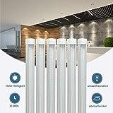 6 Stück 120CM LED Leuchtstoffröhre komplett-Set, Leuchtstofflampe 18W 6000K Kaltweiß 1650 Lumen 36Watt-Ersatz, Deckenleuchte Unterbauleuchte Schranklicht, Montagefertig, Aufklebar, klar