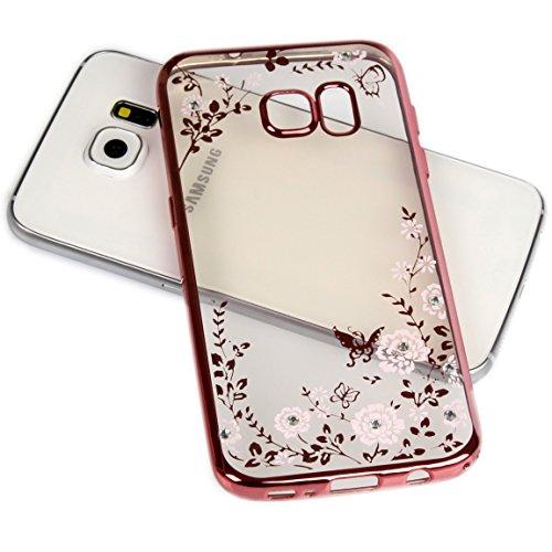 Handy Lux® Schutz Hülle Silikon Case mit Glitzer Steine Strass Cover Rosa Hülle - Weiße Blume für Samsung Galaxy S3 / S3 NEO