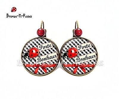 Boucles d'oreilles Porte bonheur cabochon vichy noir coccinelle rouge dormeuses