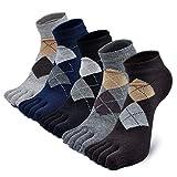 Herren Zehensocken Baumwolle Männer Fünf Finger Socken Sport Laufende Socken mit Zehen, EU 39-44, 5 Paare (Mehrfarbig 1-5 Paare)