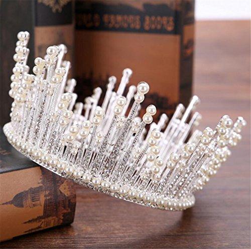 (ELEGENCE-Z Hochzeits-Krone, Voller Runder Kristallperlen-Königin-Kronen-Rhinestone-Brautkopfschmuck-Hochzeits-Parade-Haar-Tanz-Kopfbedeckung,Natural)