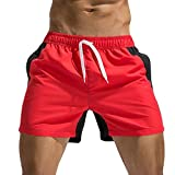 URSING_Herren Boardshorts/Badeshorts/Badehose/Hibiskus/Surfen/Sommer Strand Quick Dry Schwimmhose/Slim Fit Wassersport/Bikinihose Kordelzug Kurz Hosen/Boxer Swimming Trunks (M, Rot A)