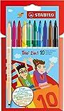 Stabilo 222/10-01 Filzstift und Fineliner Trio 2 in 1 - 10er Pack - mit 10 verschiedenen Farben