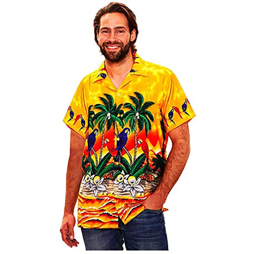 UINGKID Herren T-Shirt Kurzarm Slim fit Hawaiihemd Stag Beach Hawaii Print Party Sommerurlaub Phantasie Bluse -