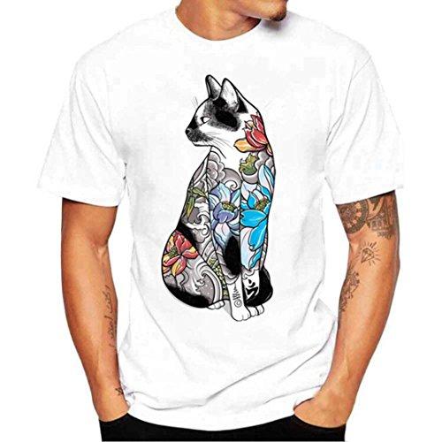 MRULIC Herren Männer Druck Tees Shirt Kurzarm T Shirt Tops(E-Weiß,EU-48/CN-XL) (Tee-shorts-leggings)
