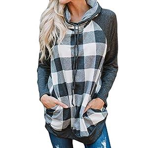 Oasics2019 Frauen Sweatshirt Top Plaid Print Pullover Langarm-Kapuzenshirt S-XL