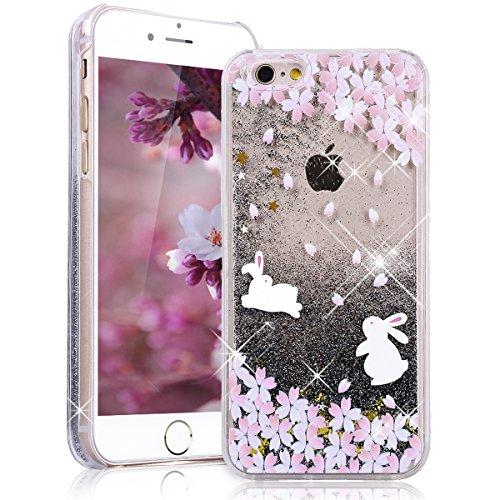 SMART LEGEND iPhone 6S Hardcase, iPhone 6 Bumper Liquid Hülle Glitter Transparent Schutzhülle mit Rosa Blume und Hase Muster Fließen Flüssig Schwimmend Premium Shiny Glanz Sparkle Bling Tasche Skin Sc Schwarz Flüssigkeit