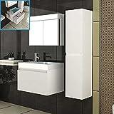 Design Badmöbelset Waschbecken mit Unterschrank & Spiegelschrank Weiss Komplettset Badezimmer Möbel Waschtisch Waschplatz