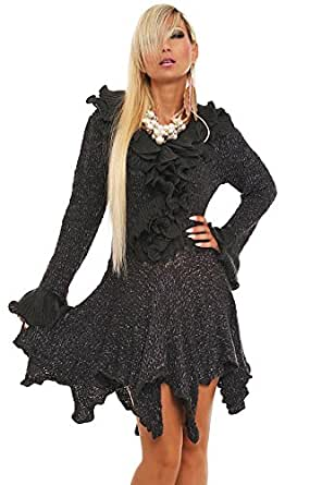 10116 Fashion4Young Damen Strickmantel Strickjacke Long Strick Jacke Mantel Cardigan 8 Farben 36/38 (36/38, Dunkelblau)