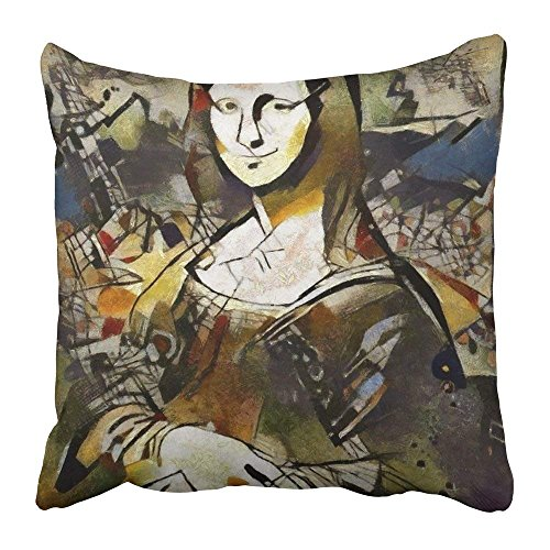 Ocabags Throw Pillow Covers Print Alternative Is The Painting of Mona Lisa Performed in Combination...