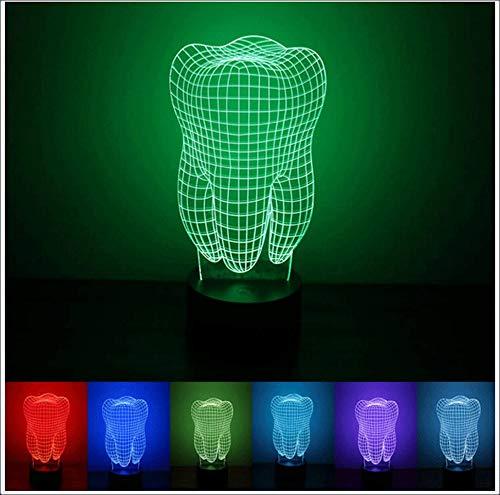 DUHUI Nachtlicht für Kinder Kreative Tooth Shapes 3D Nachtlicht, 7 Farben blinkend und Knopfschalter, USB-betriebene Zimmer Schlafzimmer Dekorative Beleuchtung LED-Schreibtischlampe