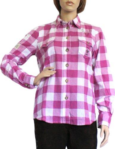 Trachtenbluse Damen Trachten lederhosen-bluse Trachtenmode brombeer kariert, Größe:44