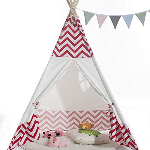 Faltbares Spielzelt GroßE Raumatmungsaktive Kinder Krabbeln Zelt Spielen Zelt Indoor Outdoor Vier Polig Indische Zelt Kind Junge MäDchen Spiel Importiert Kiefer Kapok Leinwand Zelt (Rot) (Jungen Importiert)