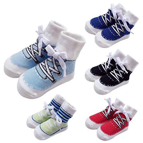Sanlutoz Baby Socken Jungen Baumwoll Sock Sneaker Muster 0-6 12 Monate 5 Paar Geschenk Set (0-12 Monate, SOCKPK005 FIVE COLORS SET)