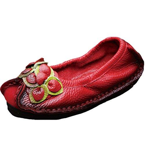 Flores Do Sapatos Couro Mão Brotar Arte De Feitos De 1 Vogstyle Vermelha Verão Vintage À Senhoras Flats YwtEqBP