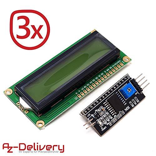 AZDelivery ⭐⭐⭐⭐⭐ 3 x HD44780 1602 LCD Modul Display Bundle mit I2C Schnittstelle 2x16 Zeichen mit gratis eBook! (mit grünem Hintergrund) Lcd-display-modul