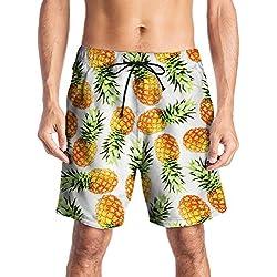 Cindeyar Homme Shorts de Bain Bermuda Séchage Rapide Casual Sport Plage Shorts (XXL, Pineapple)