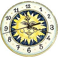 CERAMICHE D'ARTE PARRINI - Italian ceramics artistic, clock decorated sun, hand painted made in ITALY Tuscan