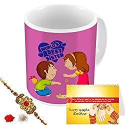 Aart Store words Best Sister Multi Colours Printed Mug, Greeting Card, Rakhi, Roli, Chawal Gift Pack for Brothers/Sisters to Enjoy Raksha Bandhan Festival.