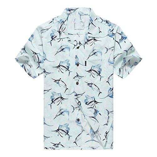 Hombres-Aloha-camisa-hawaiana-en-pescados-de-la-aguja-Azul-L