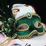 wsjwj Máscaras para Adultos Venetian Costume Ball Princess Mask con Cuentas Borla Verde Cebolla paño máscara de Plumas, Juguete Verde