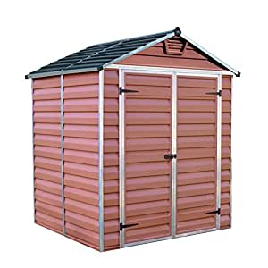 Palram skylight shed 6x5ft durable storage amber amazon for Durable sheds