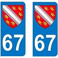 Paire Sticker immatriculation 67 - Blason Alsace