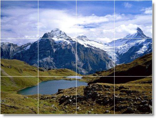 MOUNTAIN CUADRO TILE MURAL M015  12 75 X 43 18 CM CON (12) 4 25 X 4 25 AZULEJOS DE CERAMICA