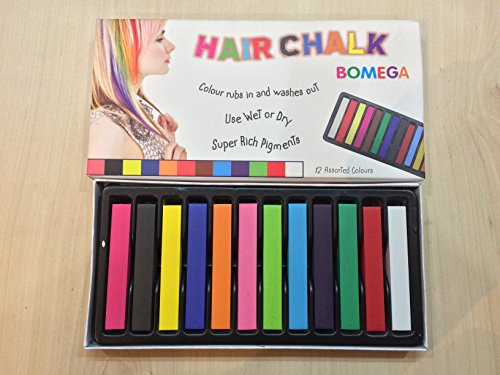 Bomega Hair Chalk 12 Assorted Colors Temporary Hair Color