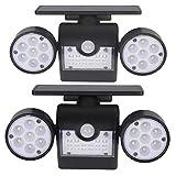 ZGYQGOO Solarleuchten Außenbewegungssensor Sicherheitsleuchten mit Doppelkopfscheinwerfer 30 LED Wasserdicht 360-Grad-drehbare Außenleuchten für den Hof Garten Garage Veranda 1 Pack, 2St