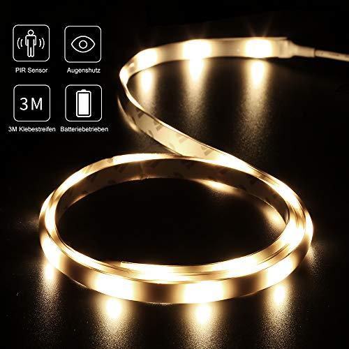 LED Streifen mit Bewegungsmelder DANCRA LED stripes Batterie 1M warmes weißes Bett Baby Nachtlicht geeignet für Schlafzimmer Kleiderschrank Küche Schrankbeleuchtung