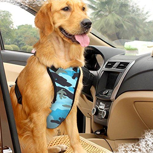 EAST-BIRD Hundegeschirr mit Sicherheitsgurt für die meisten Autos, Reisengurt, Weste mit Autositzgurt, verstellbar, leicht und bequem, XS, Camo Blue -