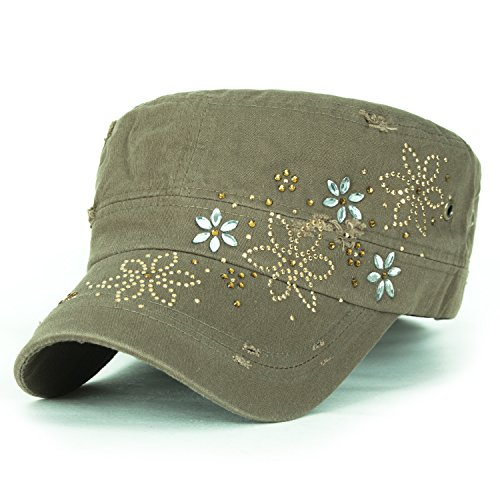 ililily Kristall Gemstone Stollen Blumenmuster klassischer Stil Baumwolle Militär Armee Hut Kadett Cap , Olive Drab (Olive Brim Cap)