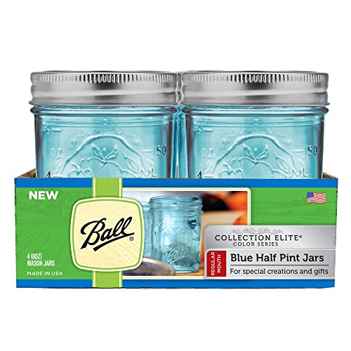 Ball Mason 4oz Quilted Jelly Jars With Lids and baands, Set of 12 Elite-Kollektion, 4 Sets RM Half Pint blau