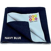 BeyBee Waterproof Baby Bed Protector Dry Sheet for Born Babies (X-Large (200cm X 140cm), Dark Blue)