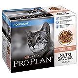 PRO PLAN Nutrisavour Housecat au Saumon - Pochons pour chat adulte 4x10x85g (40...