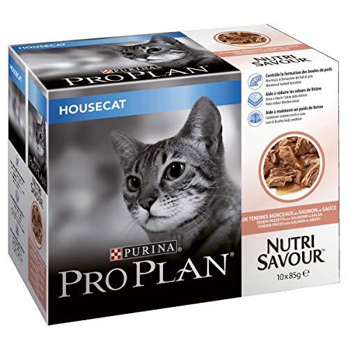 PRO PLAN Nutrisavour Housecat au Saumon - Pochons pour chat adulte 4x10x85g (40 Pochettes)
