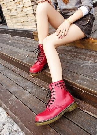 &ZHOU Bottes d'automne et d'hiver courtes bottes femmes adultes Martin bottes Chevalier bottes a11 Red