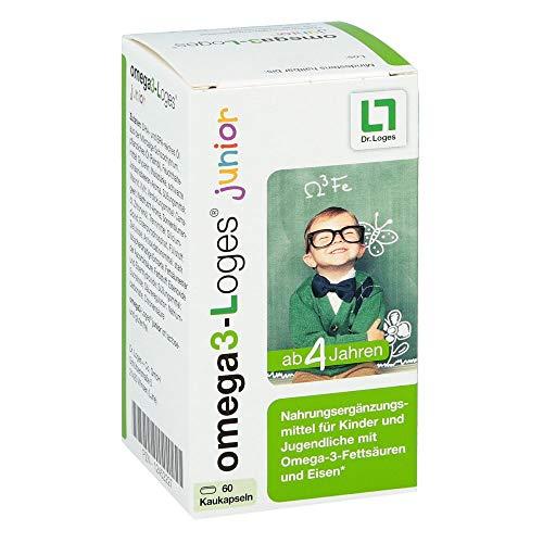 Omega3-Loges junior von Dr. Loges, 60 Kaukapseln (PZN 12452227) Omega-3-Fettsäuren EPA und DHA aus pflanzlichem Mikroalgenöl für Kinder ab 4 Jahren - Hergestellt in Deutschland