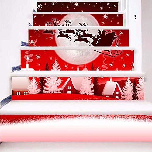 Junjie 6 Stück Aufkleber DIY Schritte Aufkleber Abnehmbare Treppe Aufkleber Startseite Weihnachtsdekorationen
