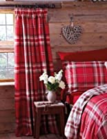 "Edinburgh Red Tartan Plaid Cotton 66"" X 72"" Fully Lined Pencil Pleat Curtains by PCJ Supplies"