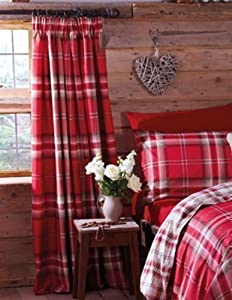 "Edinburgh Red Tartan Plaid Cotton 66"" X 72"" Fully Lined Pencil Pleat Curtains by PCJ Supplies"