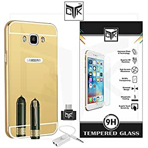 TheGiftKart™ Combo for Samsung Galaxy On8 (Combo of 1 Back Cover + 1 Tempered Glass + 1 OTG Adapter + 1 Audio Splitter) - TheGiftKart™ ULTRA Premium Luxury Metal Bumper Acrylic Mirror Back Cover (Golden) + Premium HD Tempered Glass Screen Protector With Rounded Edges + OTG Adapter + Audio Splitter