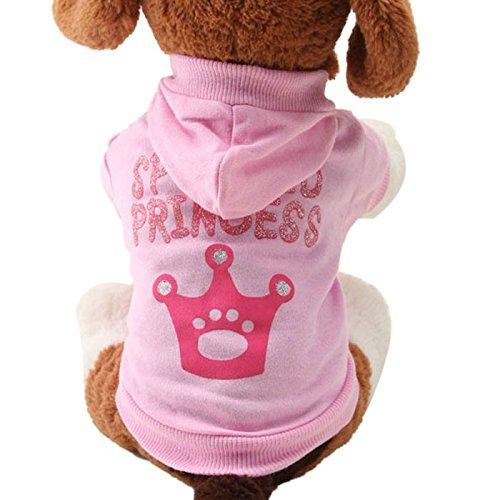 Malloom® Neue Rosa Haustier Hund Kleidung Crown Muster Welpen Kleidung Mantel Mit Kapuze Baumwolle T-Shirt (S, rosa)