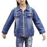 Veste En Jean Manches Longue Manteau Printemps Automne Manteau Pour Enfant Filles Bleu 150CM