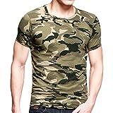 CHIC-CHIC Herren Fitness-T-Shirts Camo Sporthemd Kurzarm Drucken Tarnkleidung Trainingsanzüge Freizeithemden Military Outdoor Camping Classic Army Style Übergröße (EU60)