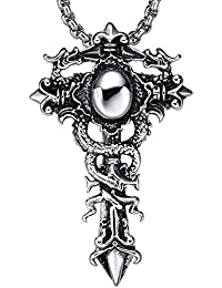 Stainless Steel Men's Biker Double Dragon Cross Sword Pendant Necklace With Round Link Chain - G2011D