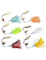 Aorace 6pcs/lot 6 Colors 16g fishing lure Spirit Spinner Bait soft Lures Fishing Hard Bait Blades Hooks Metal Spoons buzzbait