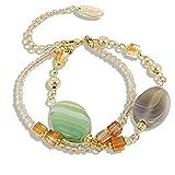 Edelstein Armband Achat mit Kristalle von Swarovski® Gold Grün NOBEL SCHMUCK